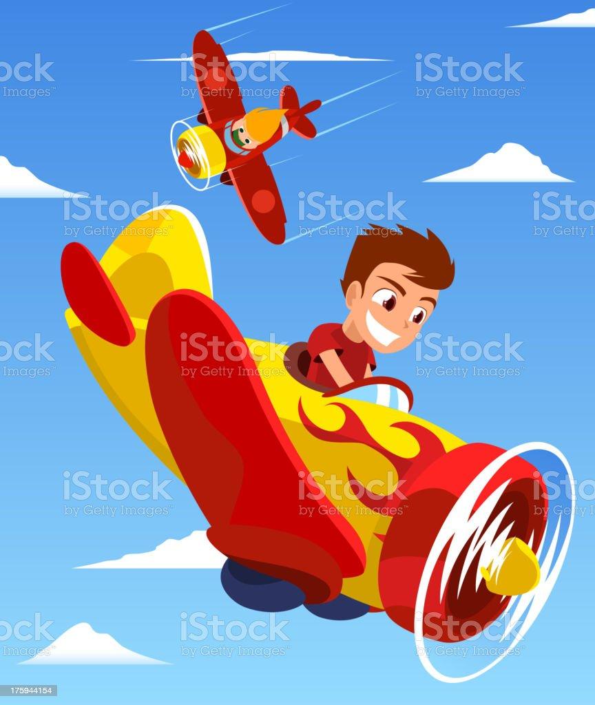 Pilot Kids Plane Race vector art illustration