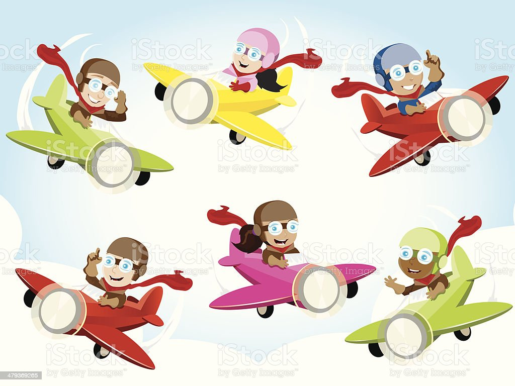 Pilot Kids royalty-free stock vector art