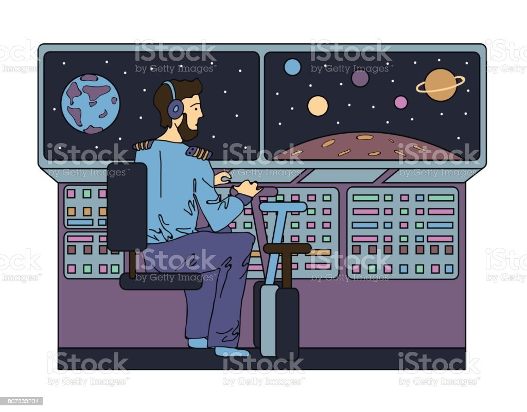 Pilot of a spaceship in space. Vector illustration. vector art illustration
