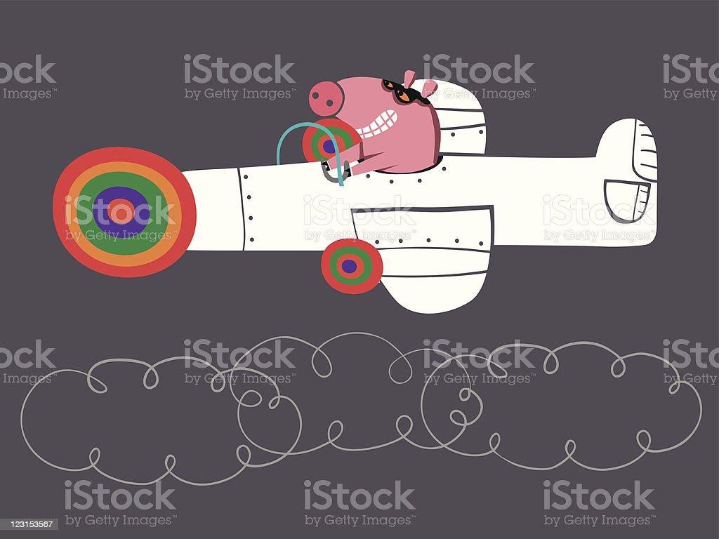 pilot pig royalty-free stock vector art