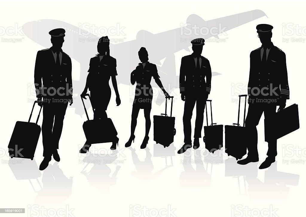 Pilot & stewardess vector art illustration