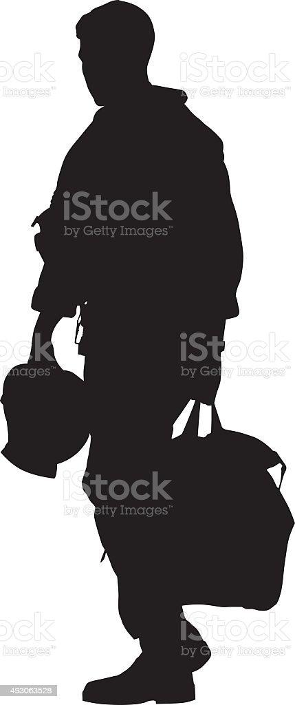 Pilot Walking With Helmet And Duffel Bag vector art illustration