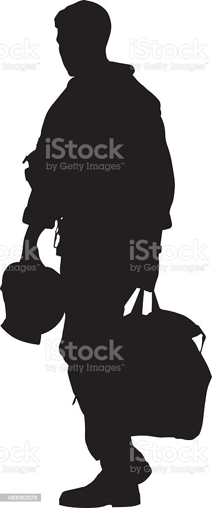 Pilot Walking With Helmet And Duffel Bag vector art illustration
