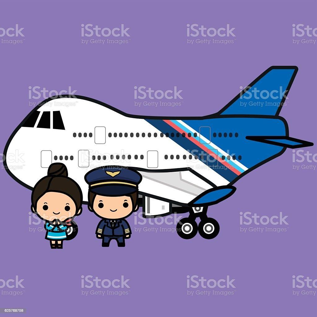 Pilots and flight attendants in uniform vector art illustration