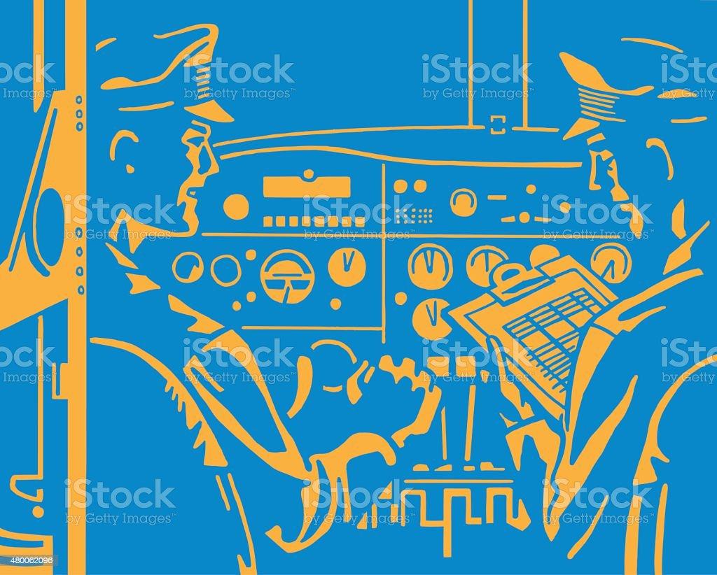 Pilots in Cockpit vector art illustration