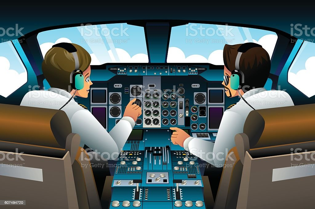 Pilots in Cockpit vector art illustration