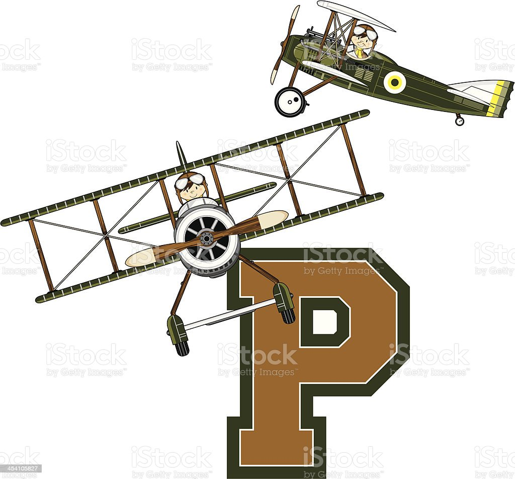 WW1 Pilots in Planes Learning Letter P royalty-free stock vector art