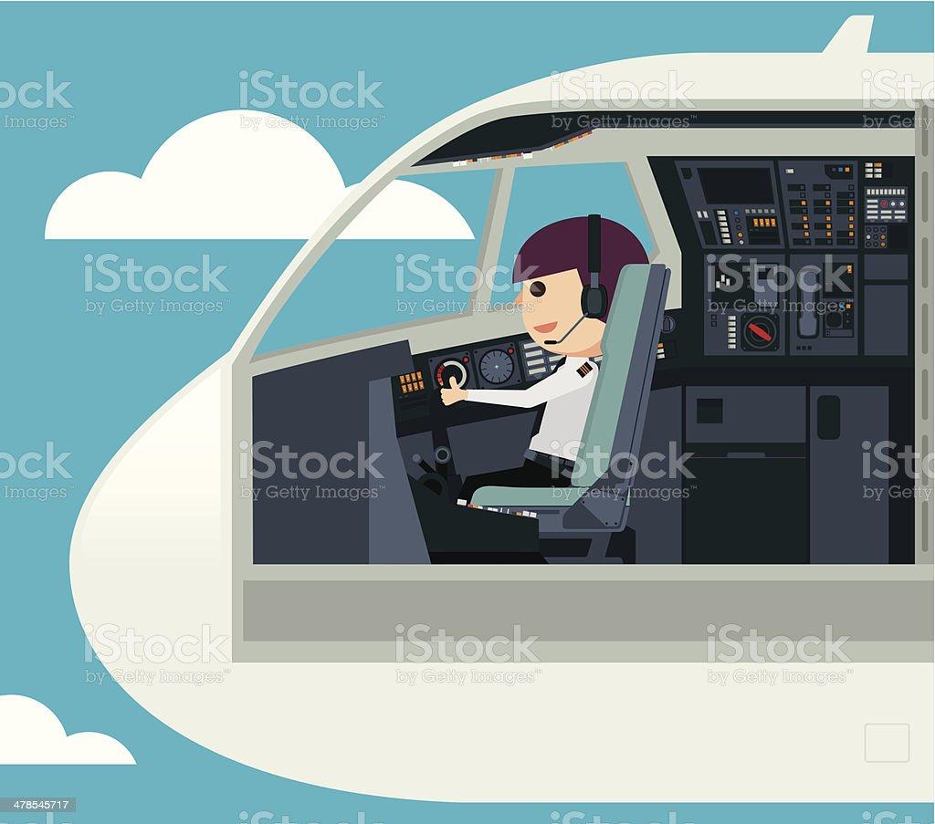 Pilots in the cockpit - Illustration vector art illustration