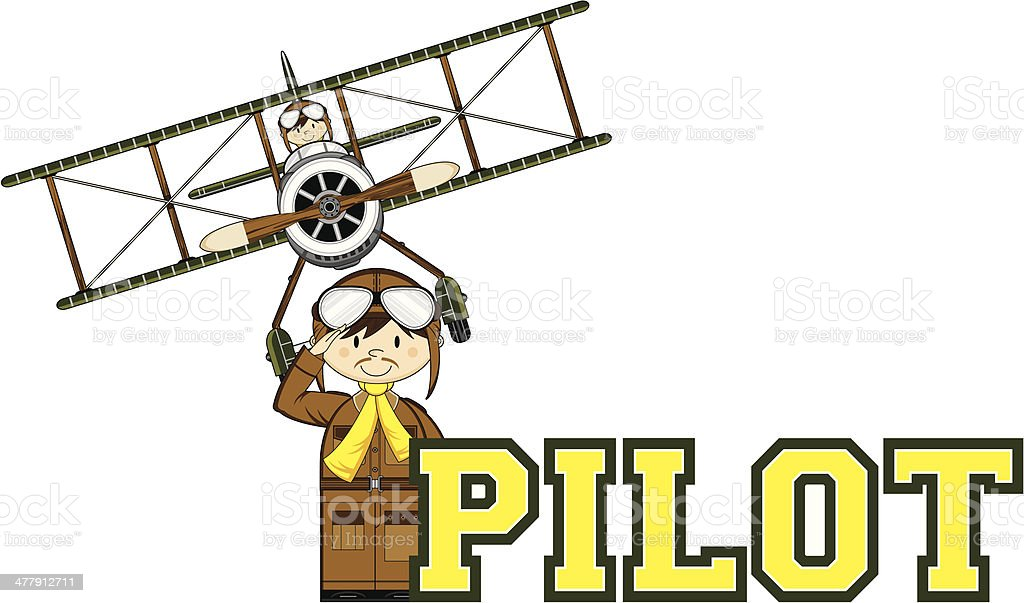 WW1 Pilots Learn to Read Illustration royalty-free stock vector art