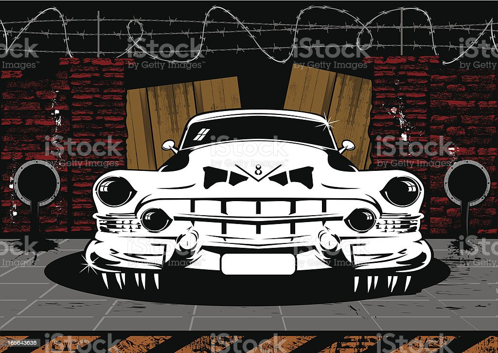 Pimped V8 classic car royalty-free stock vector art