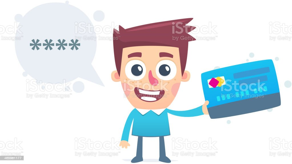 Pin code from the debit card royalty-free stock vector art
