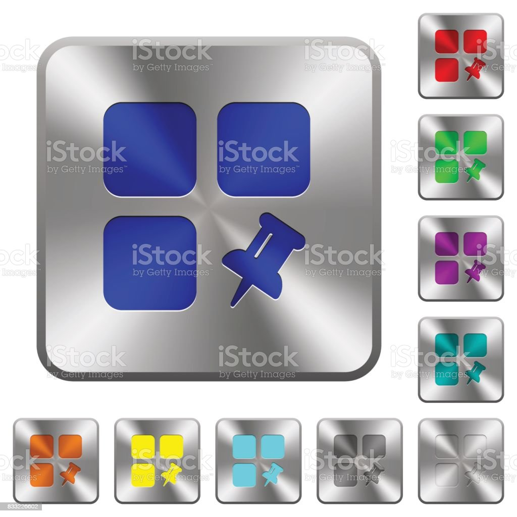 Pin component rounded square steel buttons vector art illustration