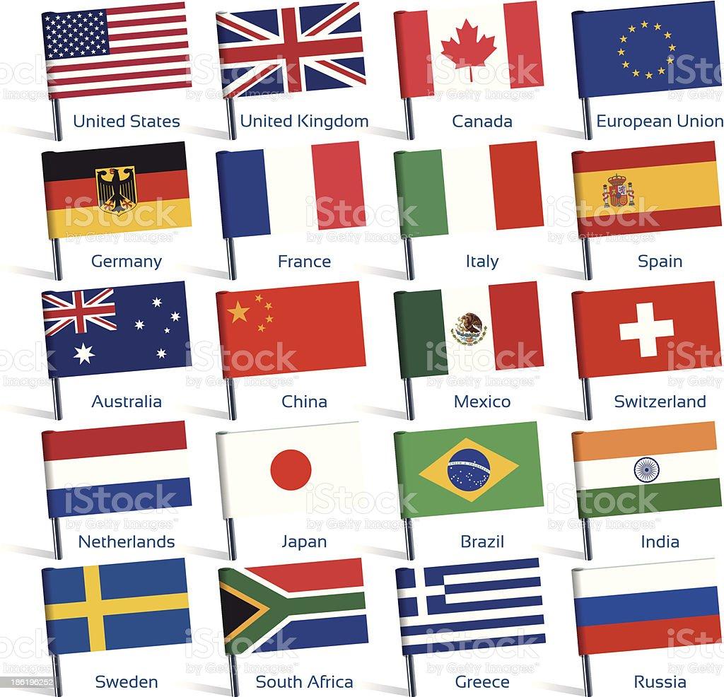 pin flags popular vector art illustration
