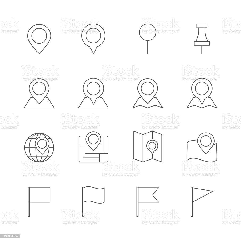 pin map icons set vector art illustration