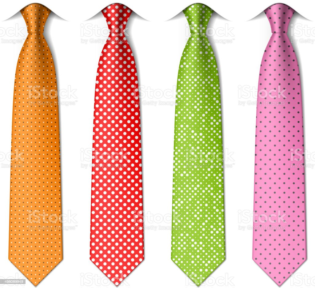 Pin, polka dots silk ties vector art illustration