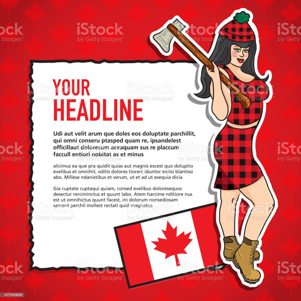 Pin Up Girl Happy Canada Day Celebration greeting design template vector art illustration