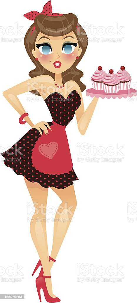 Pin Up Girl Holding Cupcakes vector art illustration