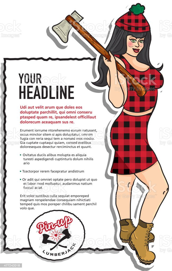 Pin up sexy Lumberjack girl in red flannel plaid axe vector art illustration