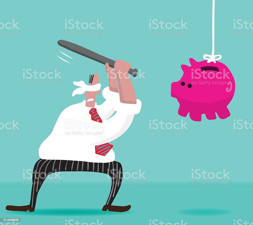 Pinata Piggy Bank vector art illustration