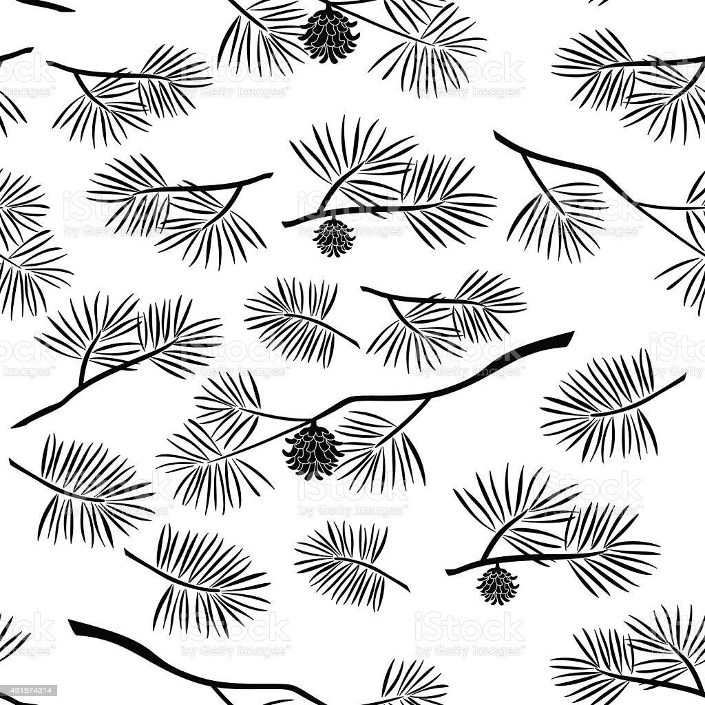 Pine Branch, Seamless Background vector art illustration