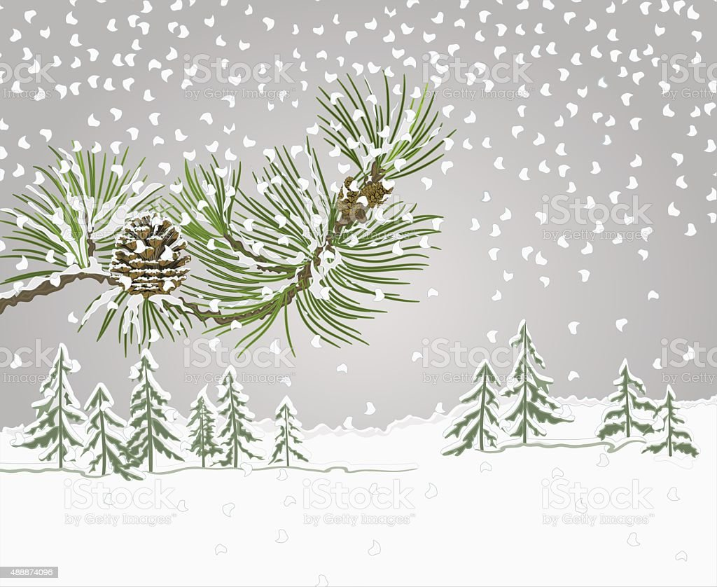 Pine branch with snow christmas theme vector vector art illustration