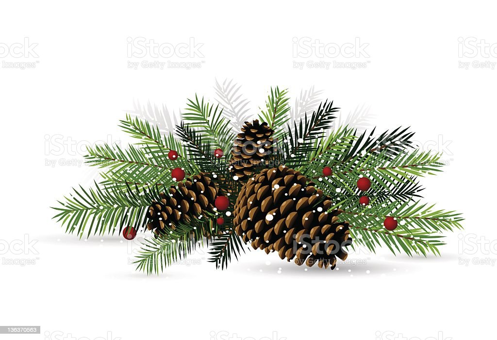 Pine Cone Christmas Decoration vector art illustration