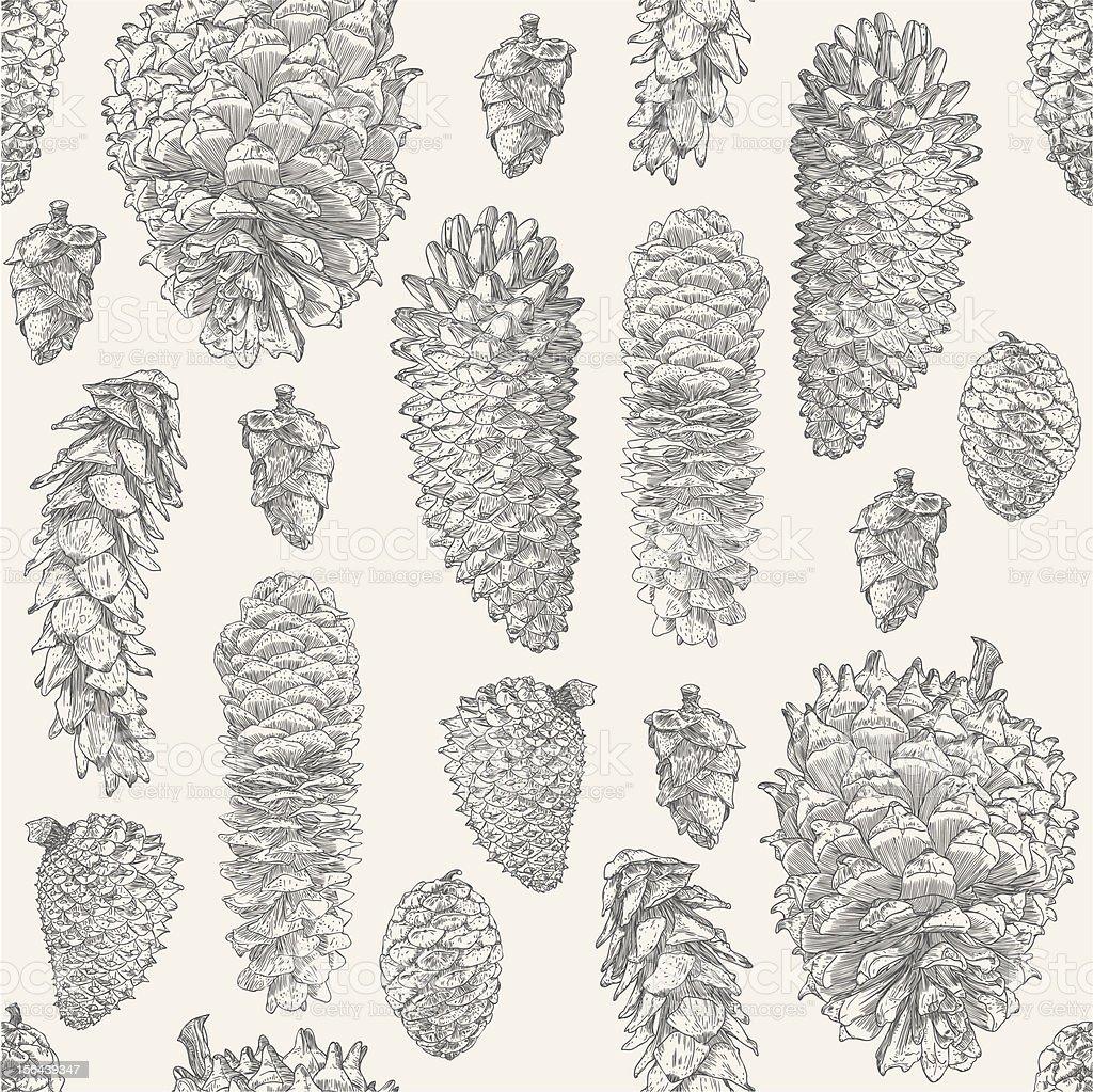 Pine Cone Repeat vector art illustration