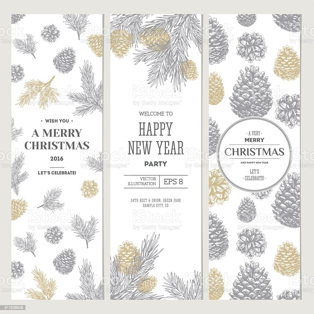 Pine cones banner collection. Christmas banners. Vector illustration vector art illustration