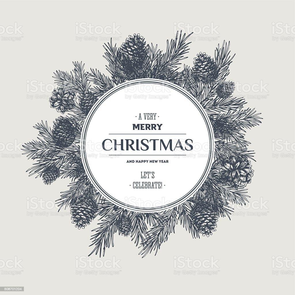 Pine cones christmas design template. New year card. Vector illustration vector art illustration
