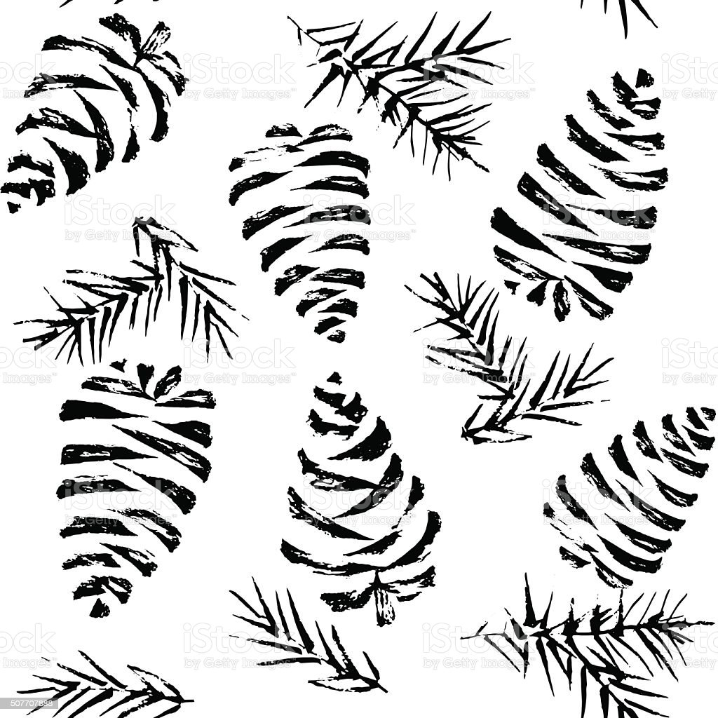 Pine cones seamless pattern. Christmas gift wrapping. Vector illustration vector art illustration