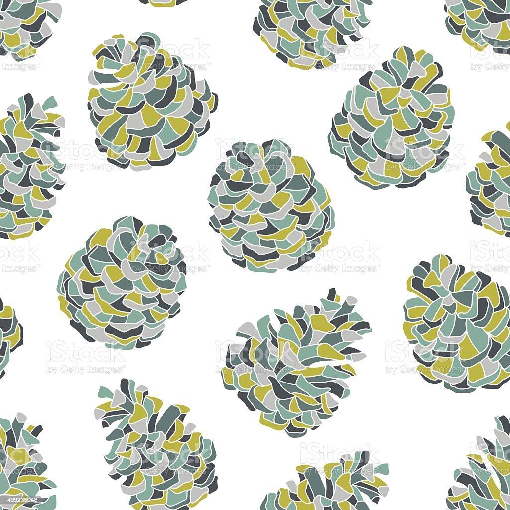 Pine cones seamless pattern vector art illustration