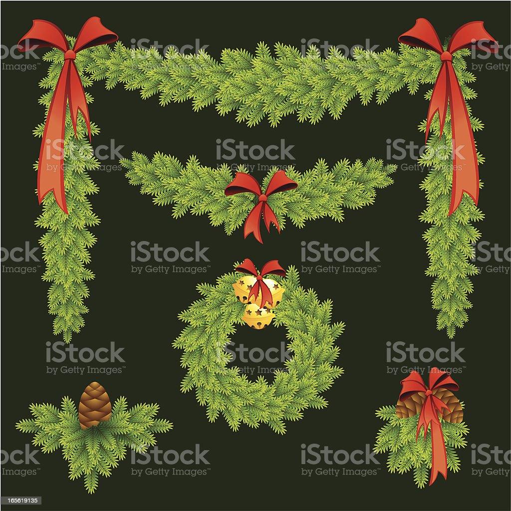 Pine garlands royalty-free stock vector art
