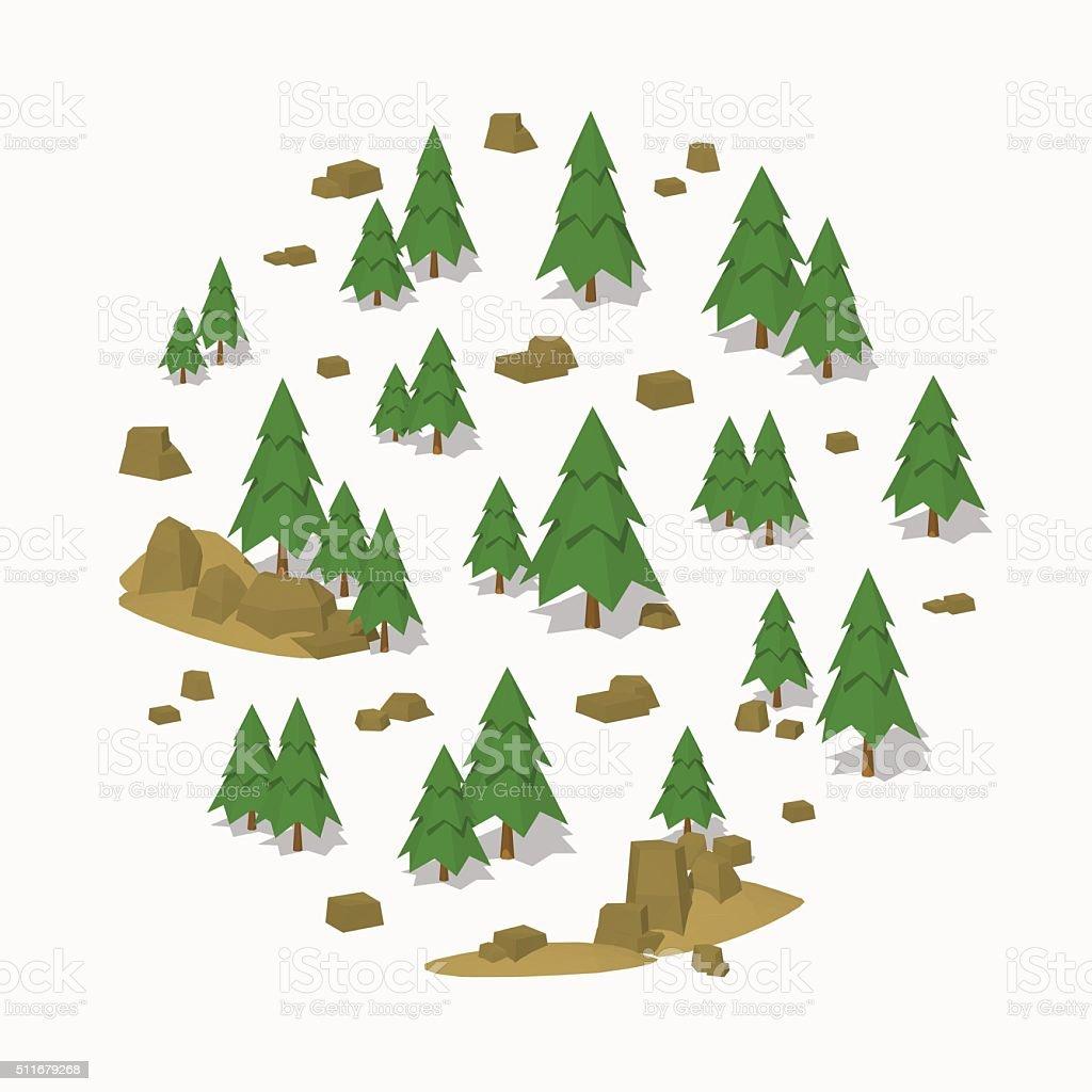 Pine tree forest vector art illustration