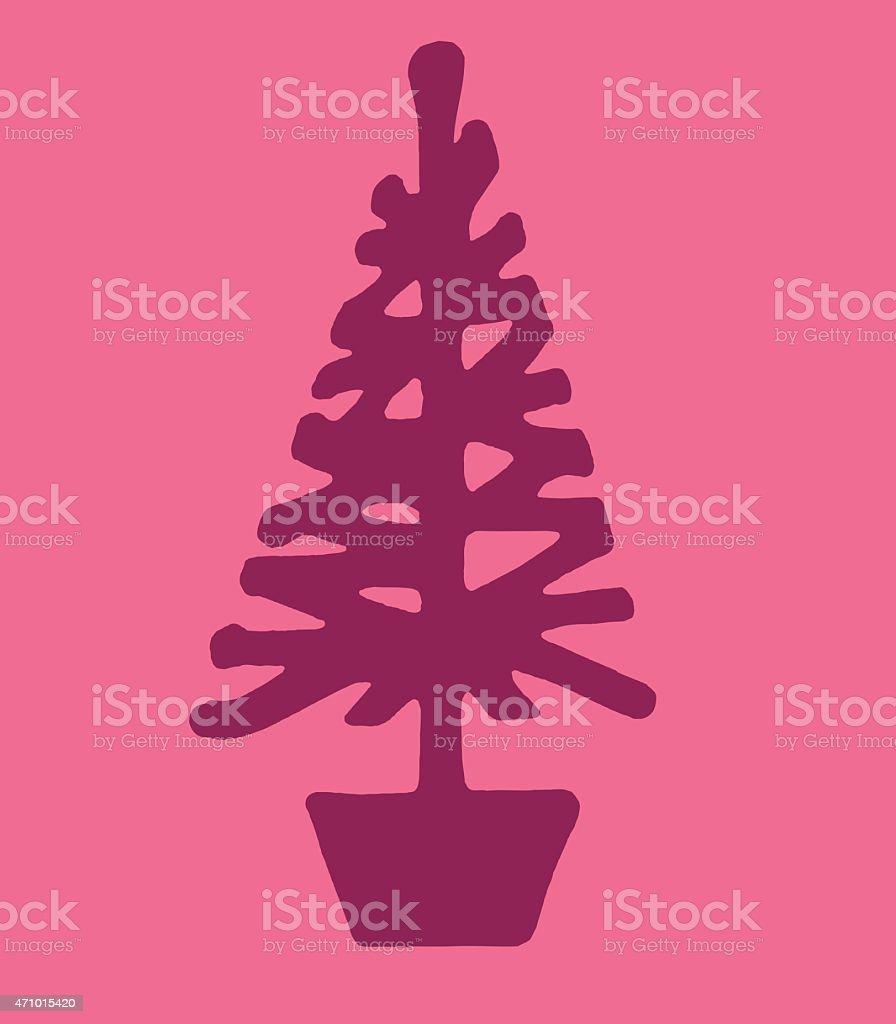 Pine Tree in a Pot vector art illustration