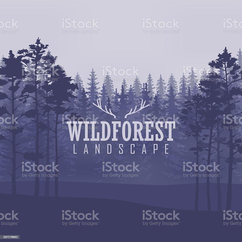 Pine tree, landscape nature, wood natural panorama. vector art illustration