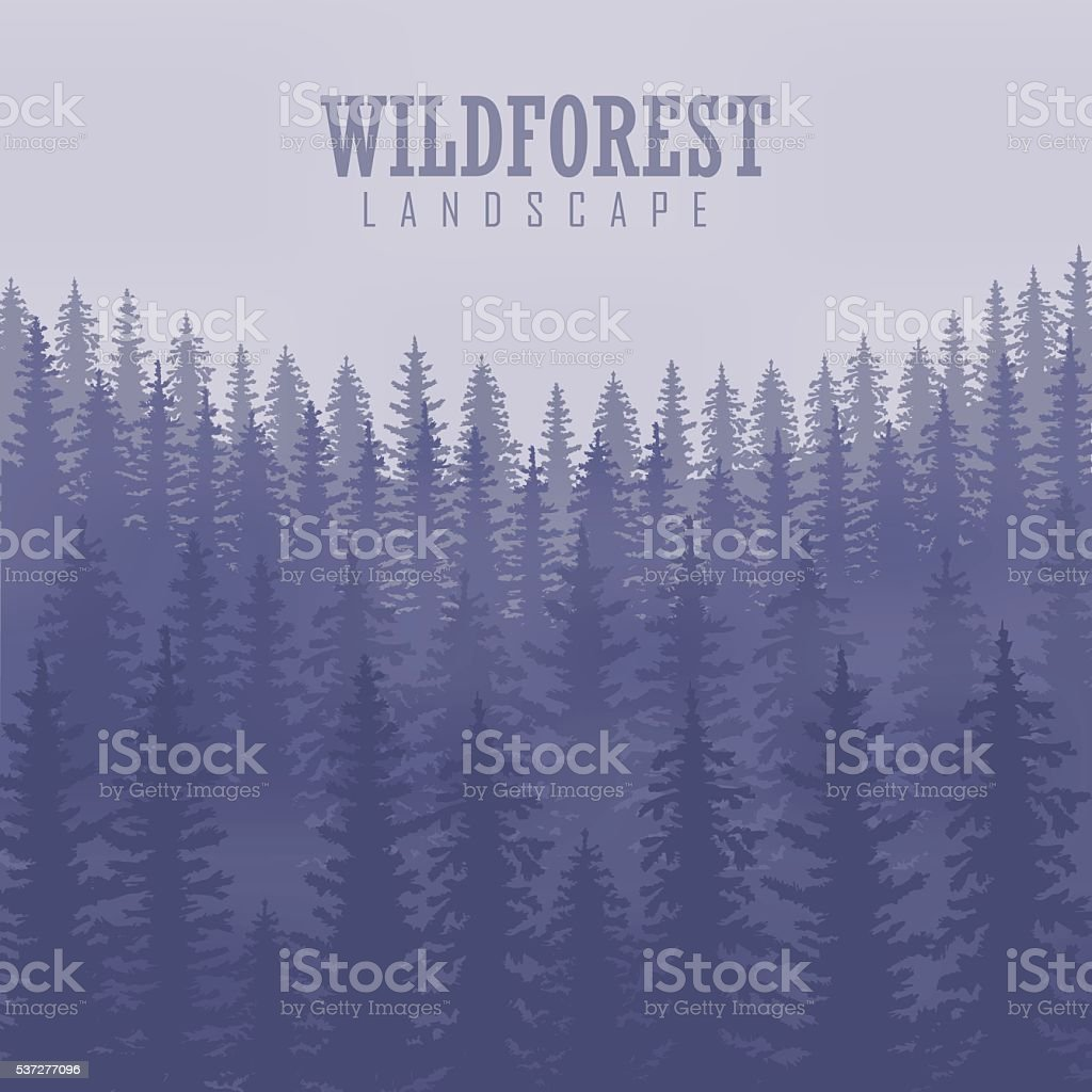 Pine tree, landscape nature, wood natural panorama. vector art illustration