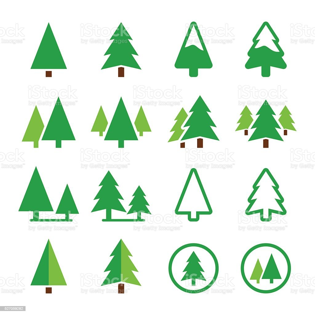 Pine tree, park vector green icons set vector art illustration