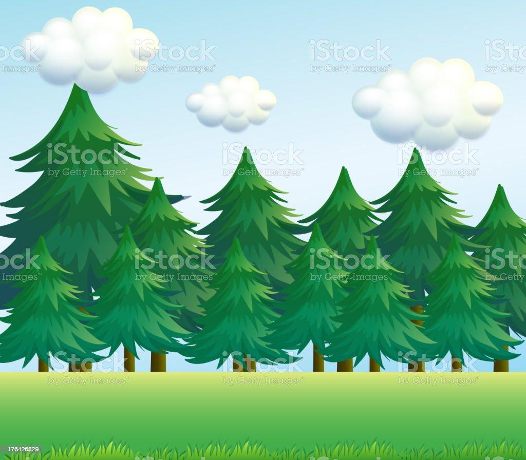 Pine tree scenery royalty-free stock vector art
