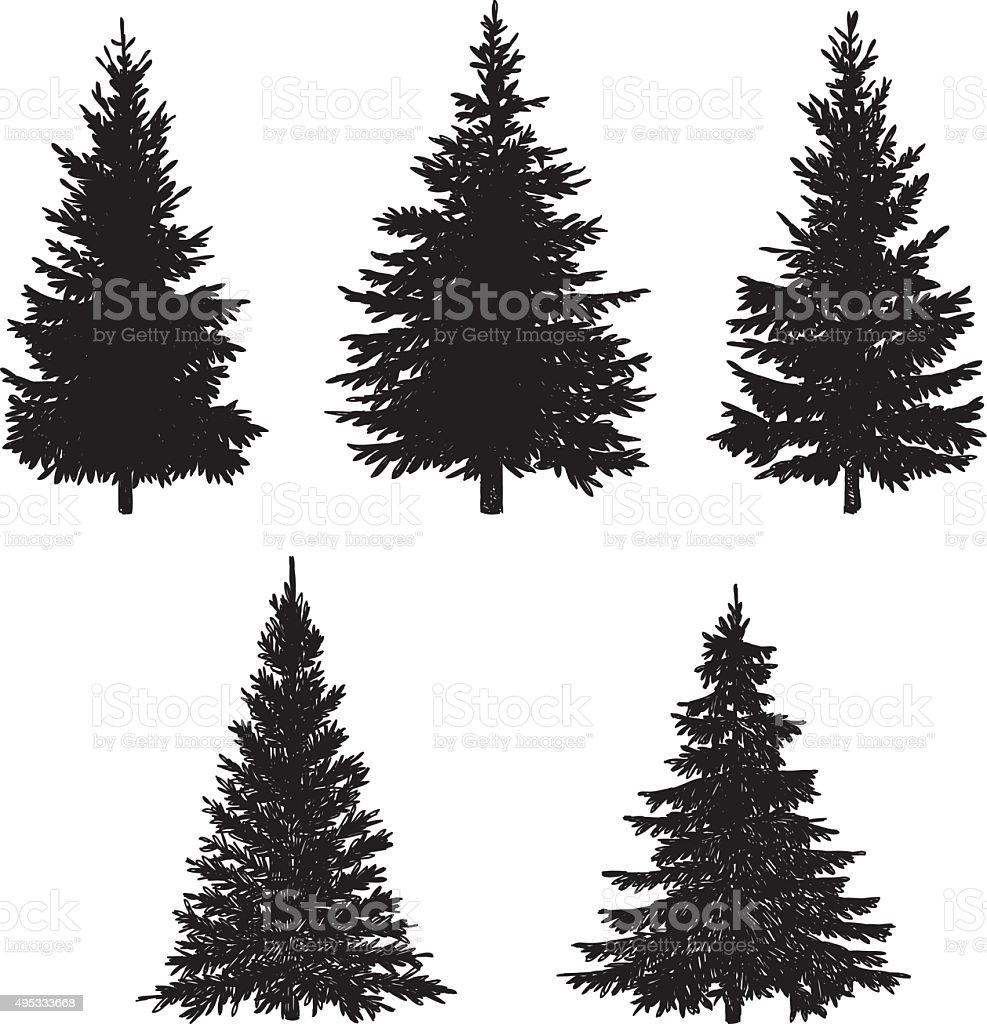 Pine Tree Set vector art illustration
