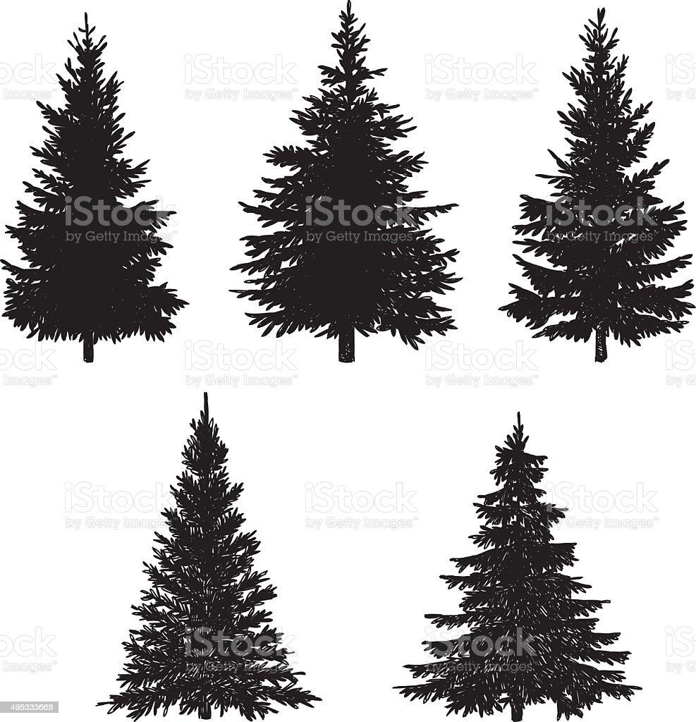 Pine Tree Set vector art illustration