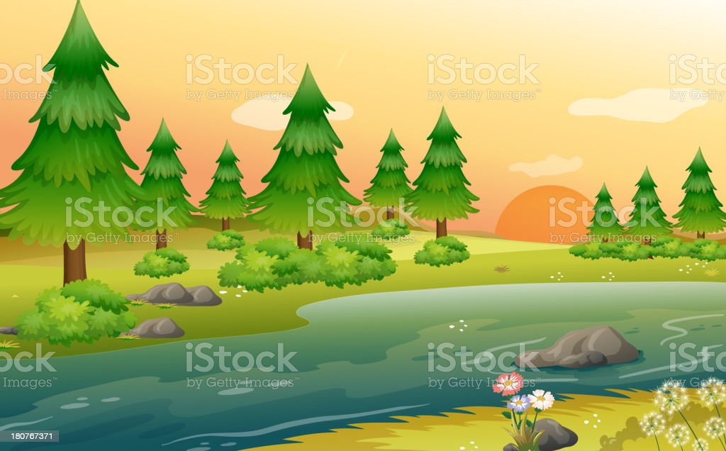 Pine trees at the riverbank vector art illustration