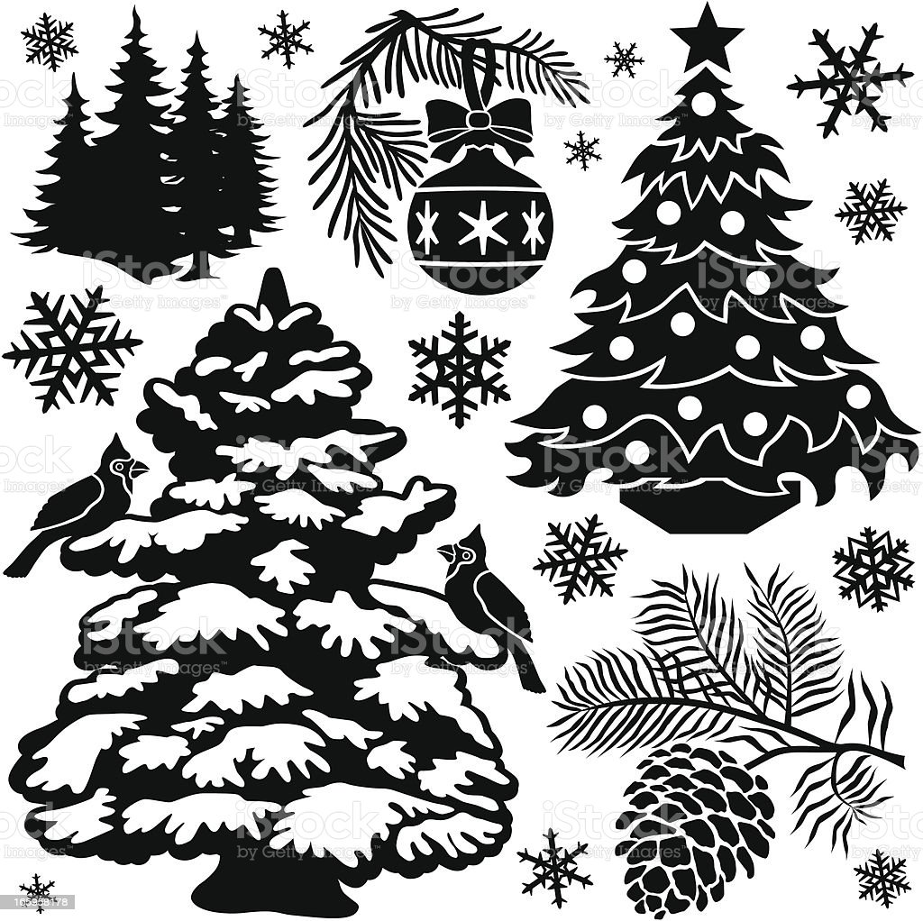 Pine trees in winter royalty-free stock vector art