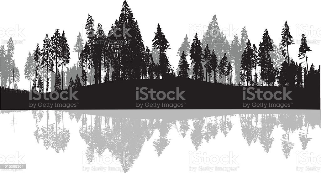 Pine Trees Silhouette Background vector art illustration