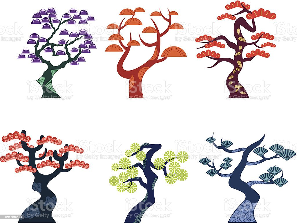 Pine trees vector art illustration