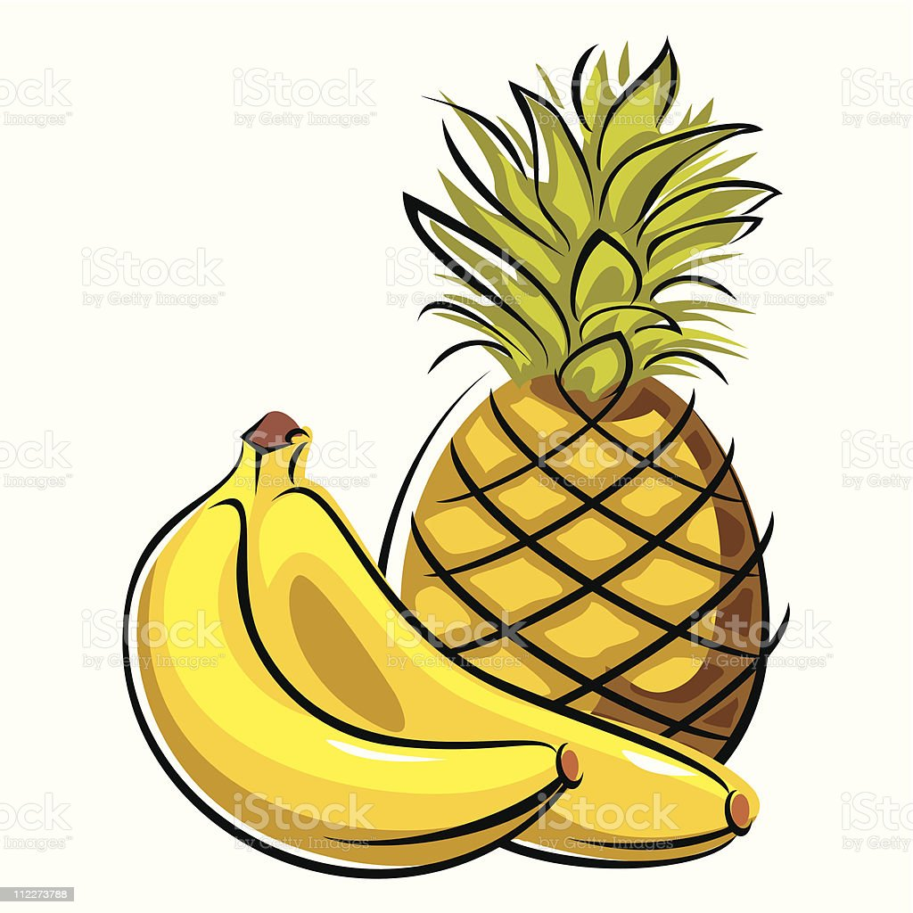 pineapple and bananas royalty-free stock vector art