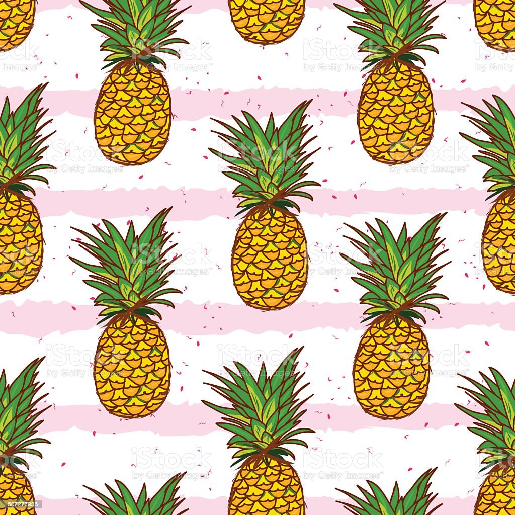 Pineapple and hand drawn stripes seamless vector print vector art illustration