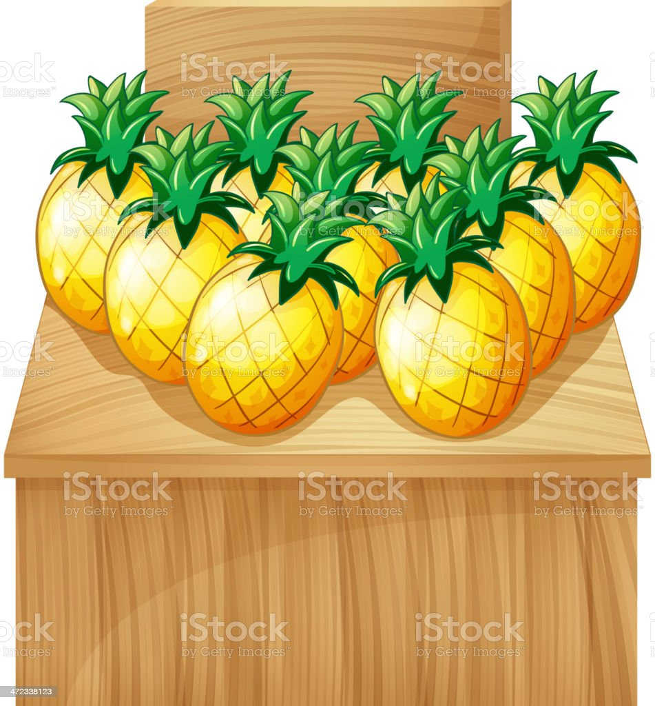 pineapple fruitstand with an empty board royalty-free stock vector art