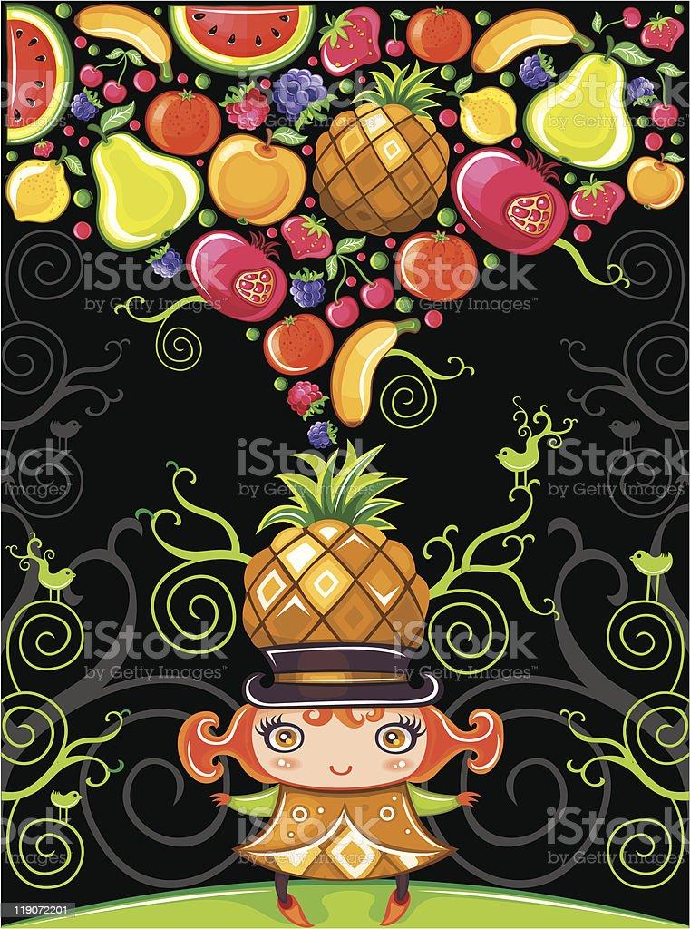 Pineapple girl (fruity series) royalty-free stock vector art