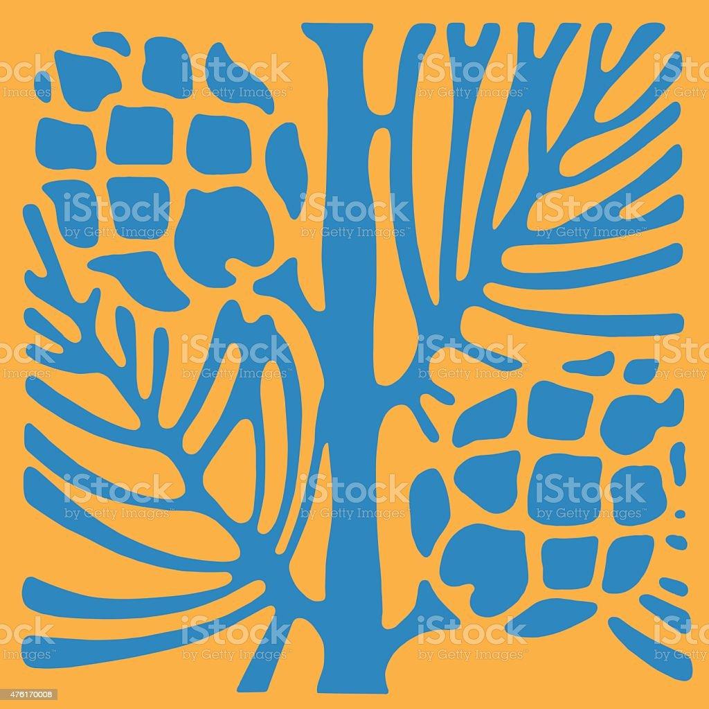 Pinecones on Pine Branch vector art illustration