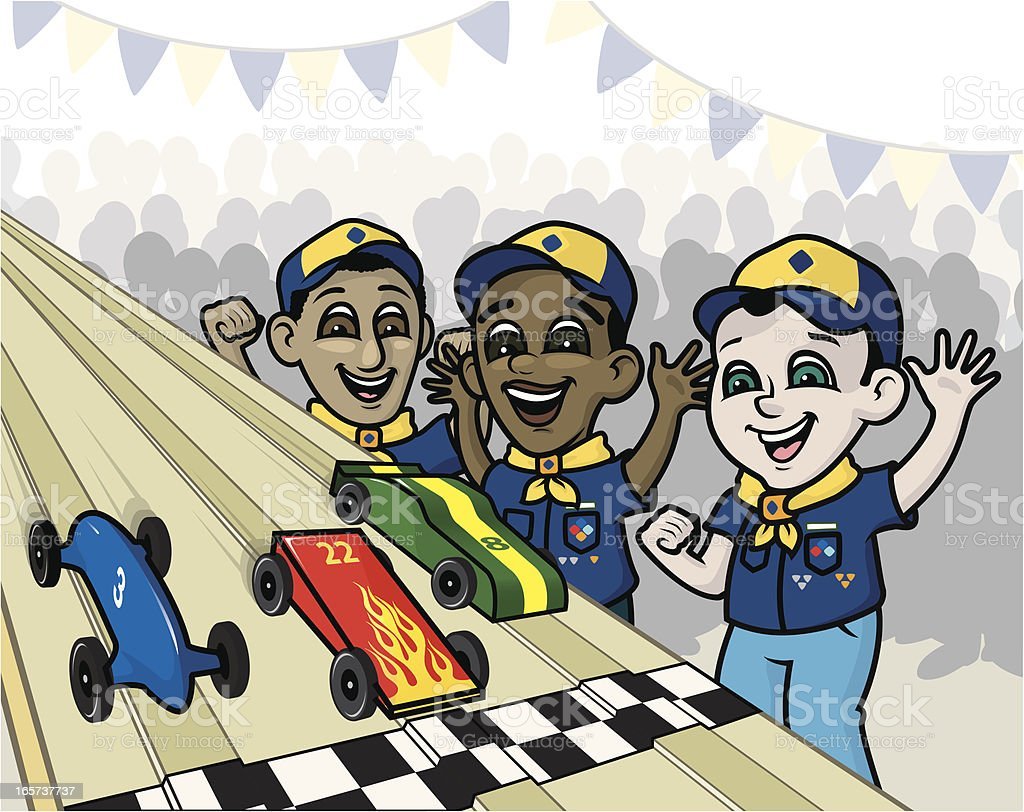 Pinewood Derby Race vector art illustration